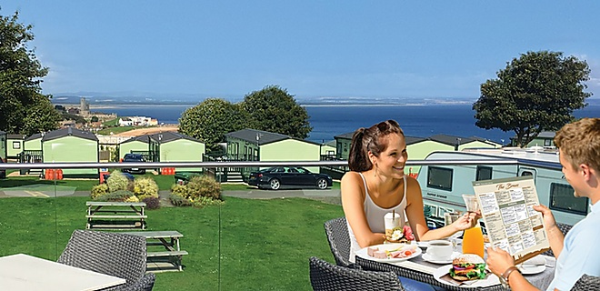 The Braes sun terrace at St Andrews Holiday Park