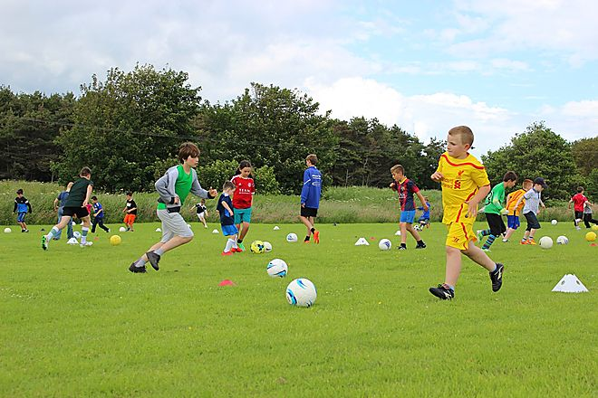 Abbeyford Active football coaching with AM Soccer Club at Elie Holiday Park